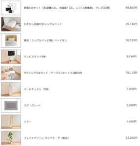 コーディネートを構成する家具・家電